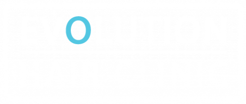 logo for evolution hair clinic blue and white in colour